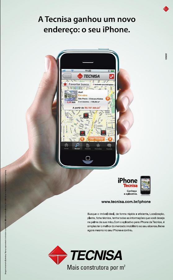 Tecnisa anuncia seu aplicativo para Iphone nos principais veículos