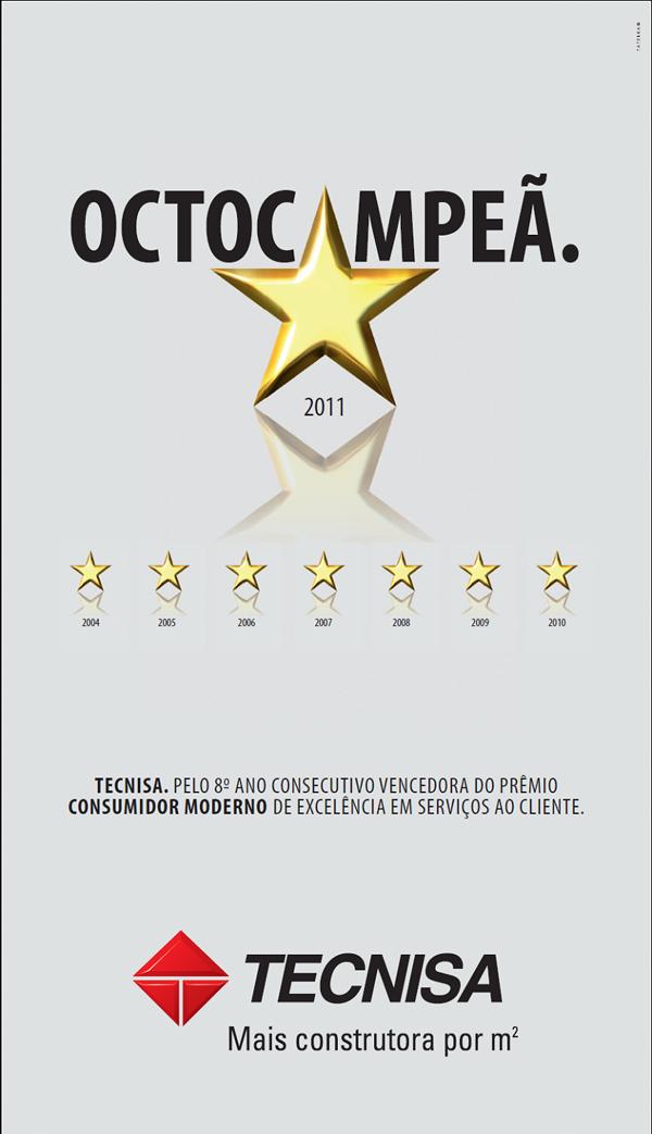 Pelo 8º ano consecutivo a TECNISA é vencedora do Prêmio Consumidor Moderno de Excelência em Serviços ao Cliente