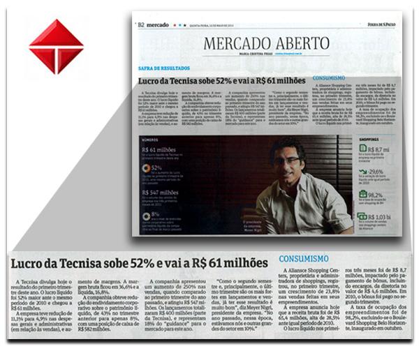 Lucro líquido da TECNISA no 1T11 soma R$ 60,8 milhões, alta de 52%