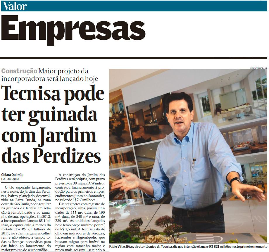 TECNISA é destaque no Valor Econômico sobre lançamento do bairro Jardim das Perdizes