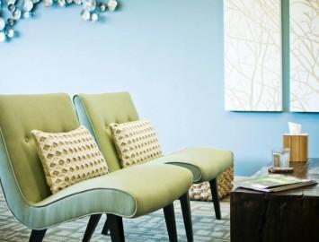 sala de espera tom pastel azul moderna ideias