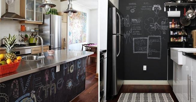 tinta lousa cozinha crianças criatividade balcão parede