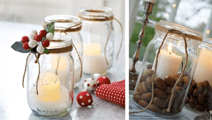 arranjos de natal em potinhos enfeites velas