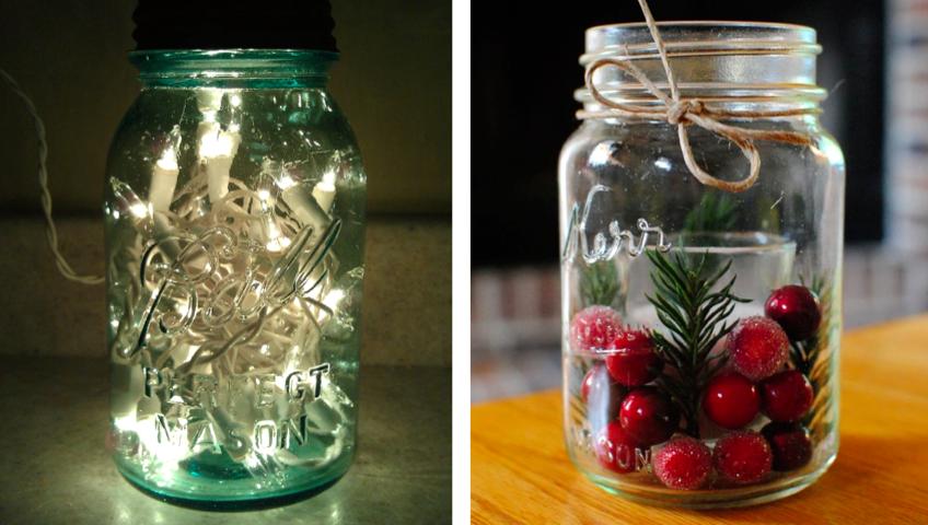 potes decorados com luzinhas frutas detalhes