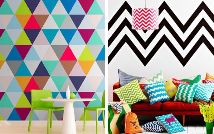 desenhos geométricos coloridos na parede e no sofá.