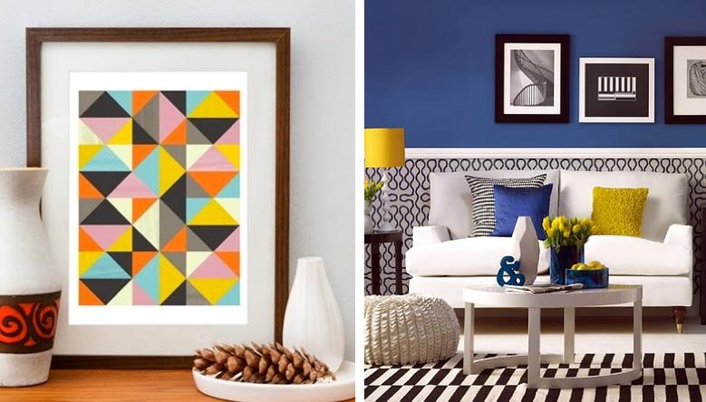 formas geométricas em objetos decorativos, tapetes e papel de parede.