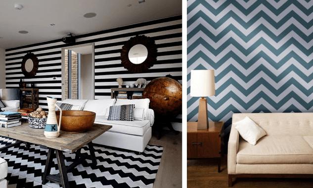 geometria no tapete preto e branco e no papel de parede em azul e PB.