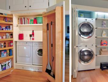 lavanderia projetada dentro de armários