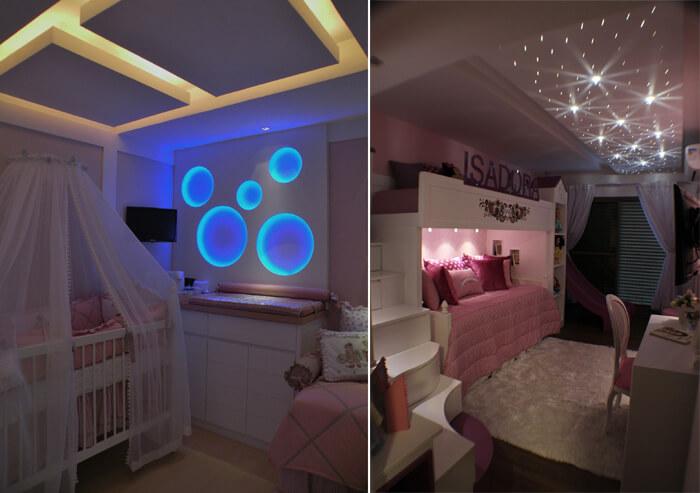 Imagem com dois quartos de criança mostrando as diferentes iluminações