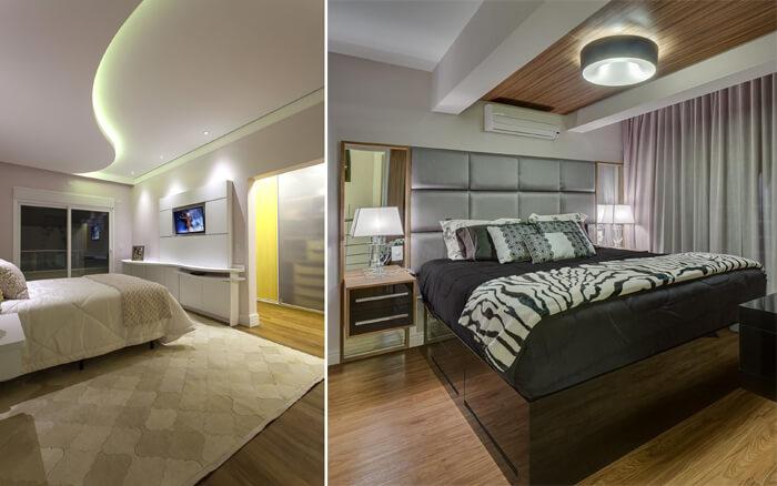 Imagem com dois quartos diferentes comparando a iluminação