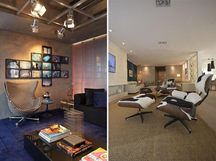 Dois tipos de sala com poltronas modernas