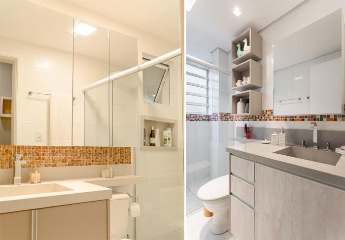 banheiro em tons claros com box de vidro