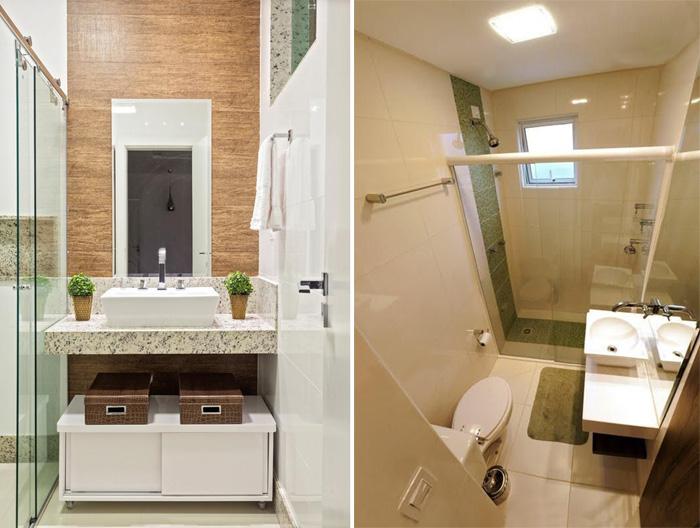banheiro pequeno com bancada livre e organizadores