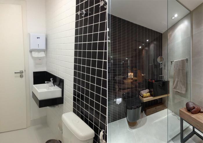 Banheiro com ladrilho preto e branco