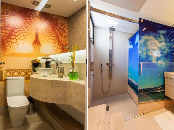 imagem de paredes adesivadas em banheiros