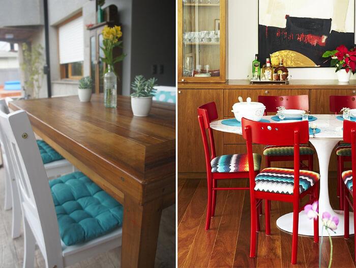 salas de jantar retrô, em cores azul tifany e vermelho