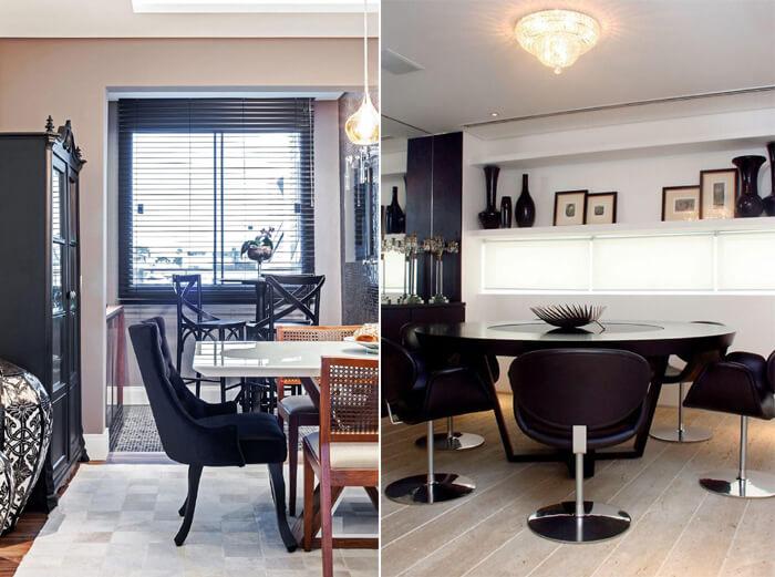 imagem de salas de jantar com cadeiras pretas