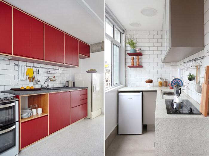 imagem de uma cozinha compacta com tijolos à vista branco ao fundo