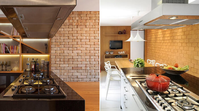 imagem de cozinhas com fogões na ilha e ao fundo paredes de tijolo à vista
