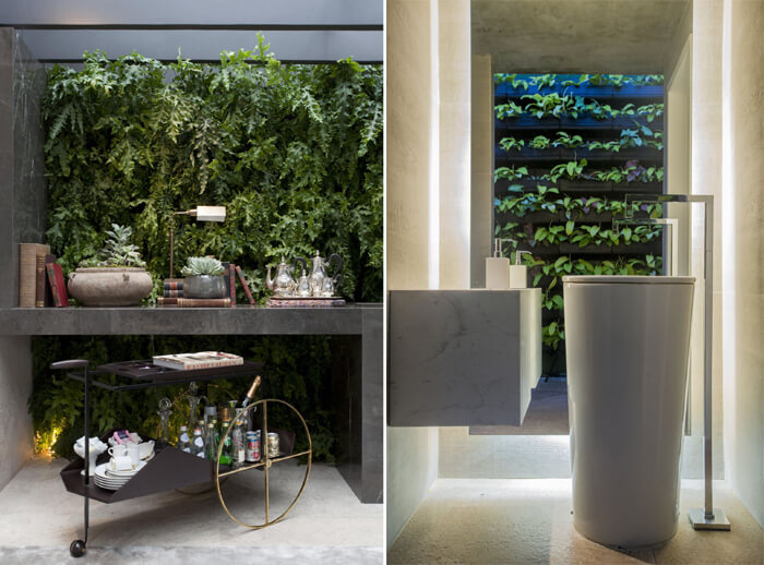 banheiros modernos com parede de plantas