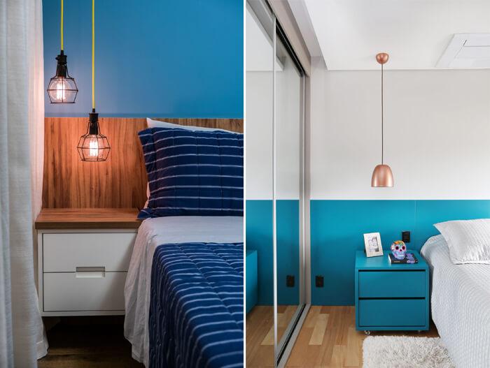 quarto de casal azul com detalhes em madeira, pendente ao lado da cama