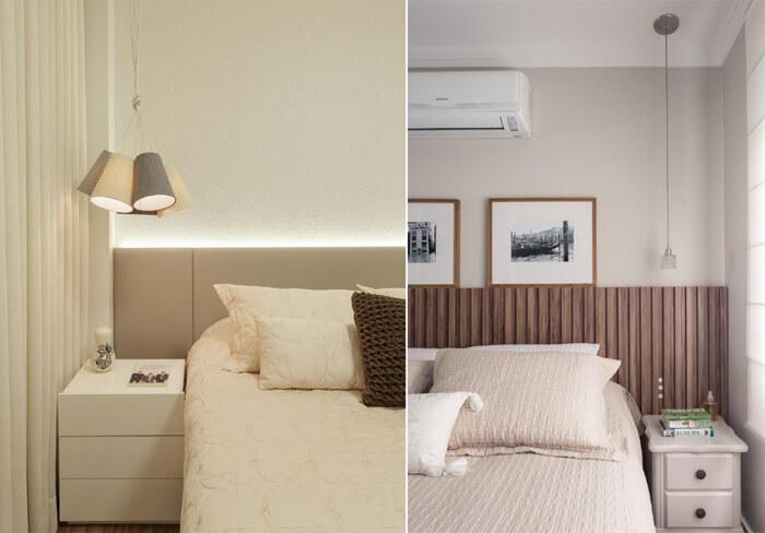 quartos de casais com pendentes ao lado da cama