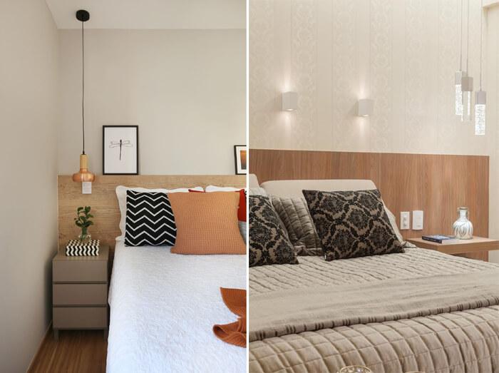 quarto de casais com pendentes modernos ao lado da cama