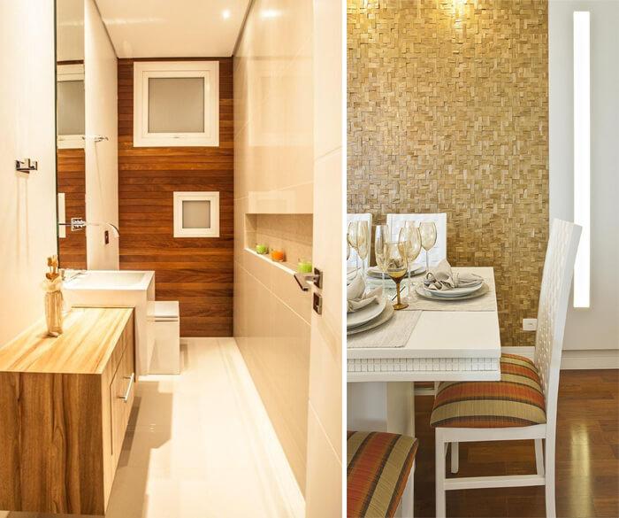 imagem de dois ambientes com revestimento de madeira e pastilhas aplicados na parede
