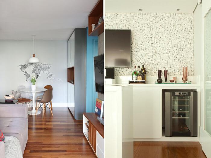 imagem de dois apartamentos com revestimento nas paredes