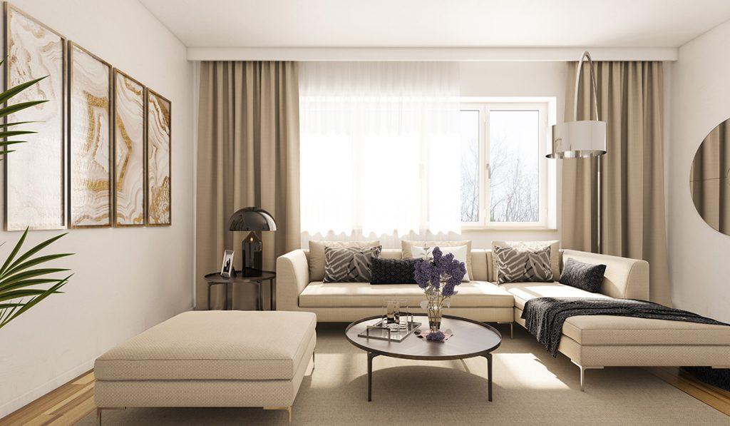 sala clean com cortinas claras
