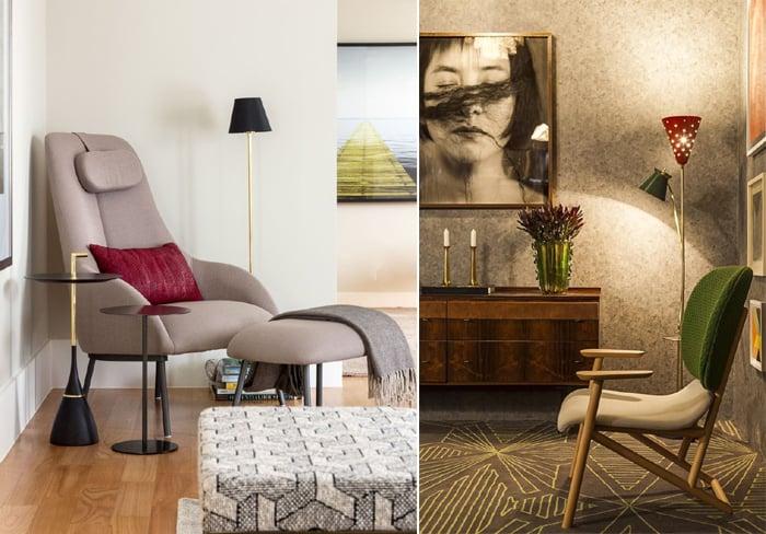Imagem mostra duas salas com decorações modernas