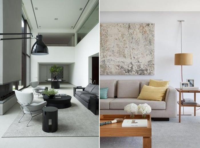 imagem de duas salas com uma decoração super moderna