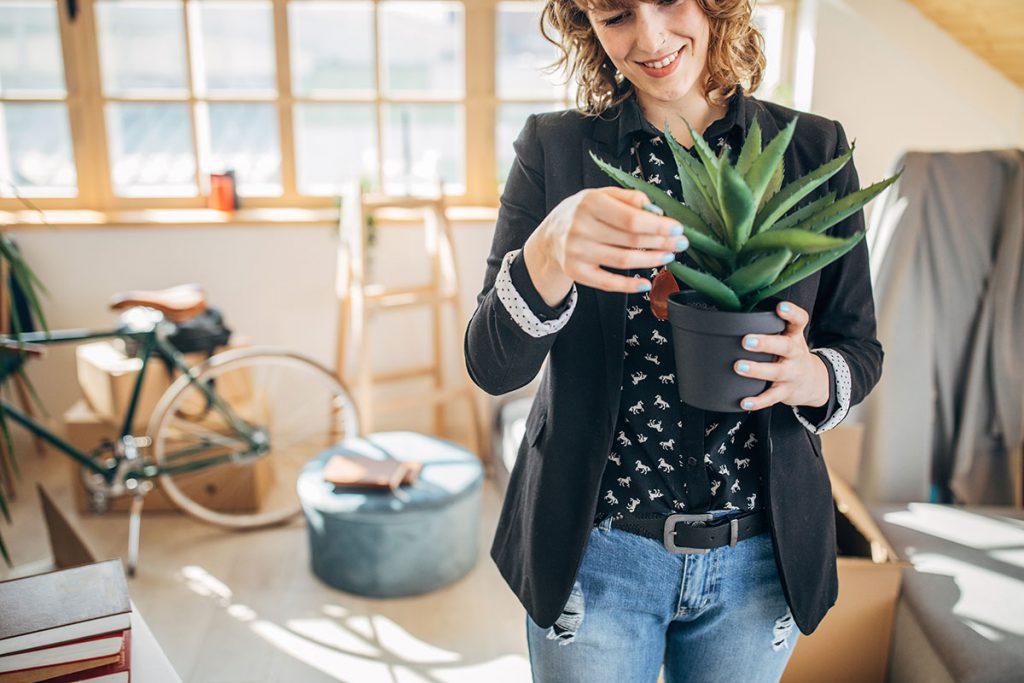 Mulher cuidando da planta