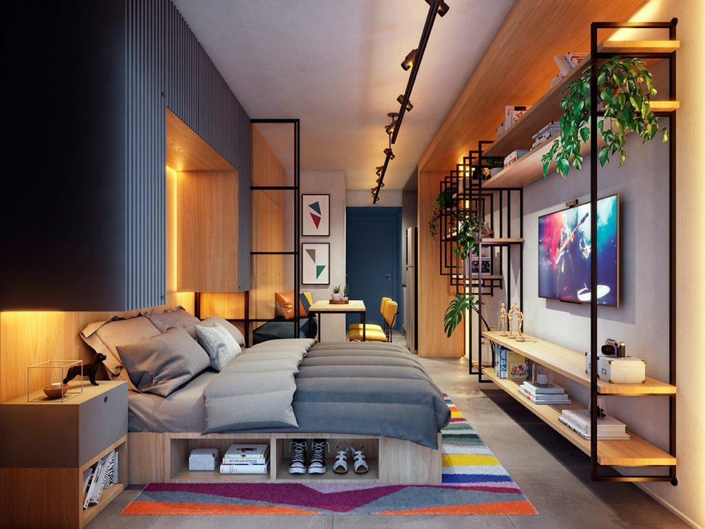 Imagem de um quarto com uma decoração linda